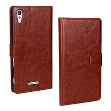 PU Leather Crazy Horse Lines Mobile Phone Case Wallet Style Flip Stand Cover With Card Slot Holder Shell Skin For Sony Xperia T3