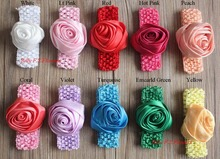 "Free Shipping 100pcs 14color 3"" Satin Rolled Rose Hair Boutique Flowers with Elastic Crochet Headband in Girls Hair Accessories(China)"