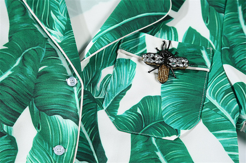 Brand Fashion Two Piece Set Women Runway Suit Fashion Green Leaf Print Dragonfly Beading Shirt + Elastic Waist Pants Sets 15