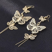 New Fashion Gold Silver Alloy Double Bow Hollow Flower Jewelry Butterfly Earrings Long Tassel Earrings  Brincos Compridos 2016