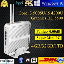 Fanless Official 3D gaming Mini Computer Thin PC With 4GB DDR3 32GB SSD 1TB HDD Intel Core i5 4200U 300M Wifi Dual Antenna