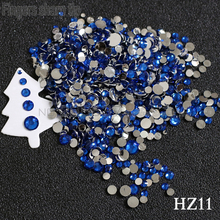 2017 Finger Sharp Tip 1000pcs 2mm-6mm Mix Sizes Royal blue 3D Nail Resin Flat Bottom Popular Nail DIY Decorative Diamond HZ11(China)