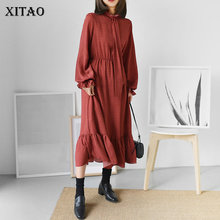 [XITAO] New 2018 Spring Vintage Europe Turtleneck Casual Women Dress Puff Sleeve Ruffles Print Mid-calf Fashion Dress XWW3423(China)
