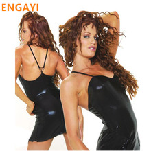 Buy ENGAYI Brand Sexy Summer Faux Leather Latex Women Erotic Dress Sexy Lenceria Babydoll Nuisette Porn Sexy Costumes Dresses A1009