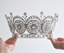 Miss Universe Hot European Design Royal Men's Queen's King's Big Huge Round Crown Silver Plated Clear Rhinestones Tiaras