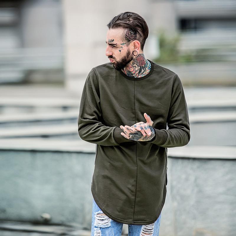 Cross Printed Hip Hop Sweatshirt Men 17Spring Streetwear Curved Hem Side Zipper Plain Mens Sweatshirts and Hoodies Man Clothes 20
