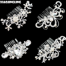 XIAOJINGLING Hot Elegant Crystal Wedding Hair Jewelry Accessories for Women Bridal Bridesmaid Hair Combs Diamante Pearl Jewelry(China)