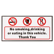 Words NO SMOKING EATING DRINKING IN THIS VECHICLE THANK YOU Stickers Signs Car Taxi Bus Decal Warning Mark Car Styling 120*60mm