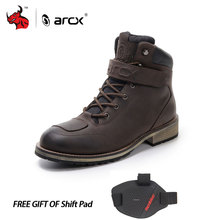 ARCX Leather Motorcycle Boots Men's Waterproof motorcycle Outdoor Travel Boots Moto Vintage Ankle Boots(China)