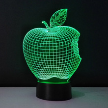 Personality 3D Visual LED home lighting Table Lamp Apple Shape Colorful Decorative Night Light Veilleuses Pour Enfants fixtures(China)