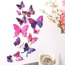 12pcs 5 Style 3D Butterfly DIY Wall Sticker Double Dual Two Layer Feather Fridge Magnetic Room Decor Decal Sticking Butterfly