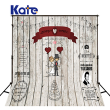Kate Wedding Wood Backdrops Blackboard for Photo Studio Wedding Background Photography Customise size made fotostudio photocall(China)