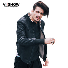VIISHOW Fashion Vintage Leather Jackets Men Stand Collar Tide Brand CLothing Men's Motorcycle Jackets Jaqueta de couro masculina