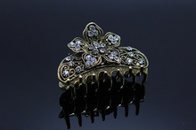 1pc Rhinestone Hairpin Party Clip Crystal Antique Silver  Hair Claws  Bridal Jewelry   Wedding Hair Accessories 0682-1