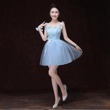 light sky blue short bridesmaids top fashion woman tulle dresses 2017 formal ball dress wedding with flowers lace S3384