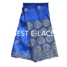 Free shipping classic design Silk George lace fabric ,GOLD thread embroidery African lace fabric for party dress green