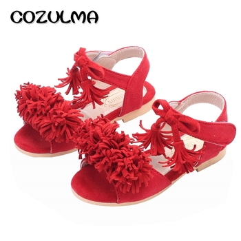 COZULMA Girls Sandals Kids Summer Shoes Girls Princess Shoes Kids Flat Tassel Sandals Summer Style Children Sandals Black Red