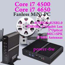 MINI PC Fanless  Dual Inter i7 Core 4 thread Linux Ubuntu PC for IR Interactive Whiteboards Industrial Office high configuration