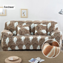 Flannel Sofa Slipcover Flexible Corner Sofa Cover Big Elasticity Couch Cover Funiture Cover Machine Washable 1/2/3/4 Seat