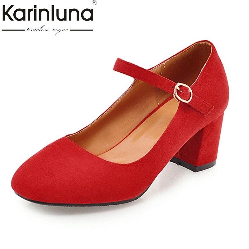 Karinluna Womens Nubuck Mary Jane Shoes Woman Chunky High Heels Round Toe Less Pumps Big Size 32-45<br>
