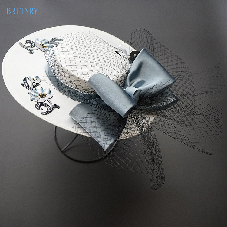 BRITNRY Elegant Wedding Hat Summer Tulle Bride Hat with Bow