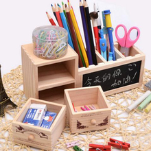 Cute 1 Pcs Hot Blackboard Storage Box Jewelry Box Drawer Wooden Pen Holder(China)