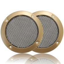 "2pcs 3"" Inch GoldenCircle Speaker Decorative Circle w/BlackProtective Grille Mesh"