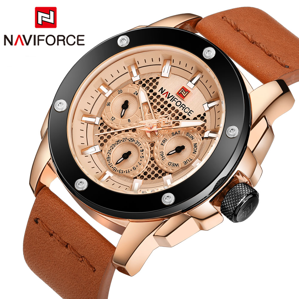 Naviforce Fashion Luxury Brand Men Waterproof Military Sports Watches Mens Quartz Analog Leather Wrist Watch relogio masculino<br>