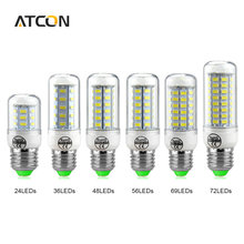 1Pcs High Lumen 24 36 48 56 69LEDs E27 E14 220V LED Corn lamp Chandelier 5730 SMD Spot light LEDs Bulb Indoor lighting
