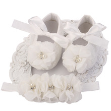 Ivory Newborn Booties Baby Girls Shoes Toddler;Infant Girls Rhinestones First Walker Baby Shoes Ballerina;Baby Girls Baptism Set(China)