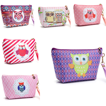2017 Owl Handmade Cosmetic Bag Toiletry Animal Cartoon Travel Zipper Leather Makeup Waterproof Wash Organizer Free Shipping P459