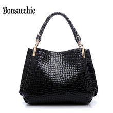 Bonsacchic Luxury Handbags Women Bags Designer Women's Handbags Crocodile Pattern Hand Bag for Women 2017 Tote bolsas de couro(China)