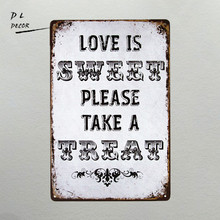 DL-Rustic Chic Country Burlap Wedding Sign LOVE IS SWEET TAKE A TREAT Metal Plaque Sign