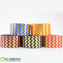 38mm foil puff chevron printed grosgrain ribbon wholesale supplier 10 yards