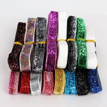 Lace Ribbon Sparkle Glitter Velvet Ribbon Random Mix Color for Craft/Sewing DIY Wedding Party Jewelry Material 12y/lot(1y/color)