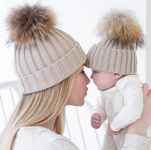 2016 Hot New Mother and Baby Kinetted Hats Pompom kids Beanies Hat winter Cap For Children Adult Drop Shipping