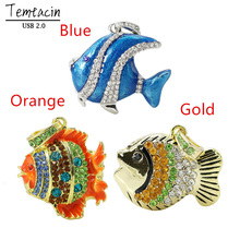 NEW Rushed Stock Wholesales USB Jewelry Waterproof Metal Fish Shape 2.0 Flash Drive Memory Necklace Original Quality PenDrive