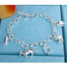 Bracelet horse hoof jewelry Bracelet with horsebit charms Silver fashionable jewelry Silver Plated Bracelet wholesale gift LH74
