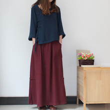 Women Skirt Chinese Vintage Saia Traditional Jupe Texture Cotton Linen Maxi Skirts Folk Style Long Skirt With Pocket Faldas