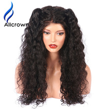 ALICROWN Curly Lace Front Human Hair Wigs With Baby Hair Brazilian Remy Hair Wigs For Black Women Pre-Plucked Bleached Knots(China)