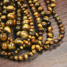 Hot Sale 4mm 6mm 8mm 10mm Natural High quality charms Yellow Tiger Eye Round Stone Beads fit for bracelet Making