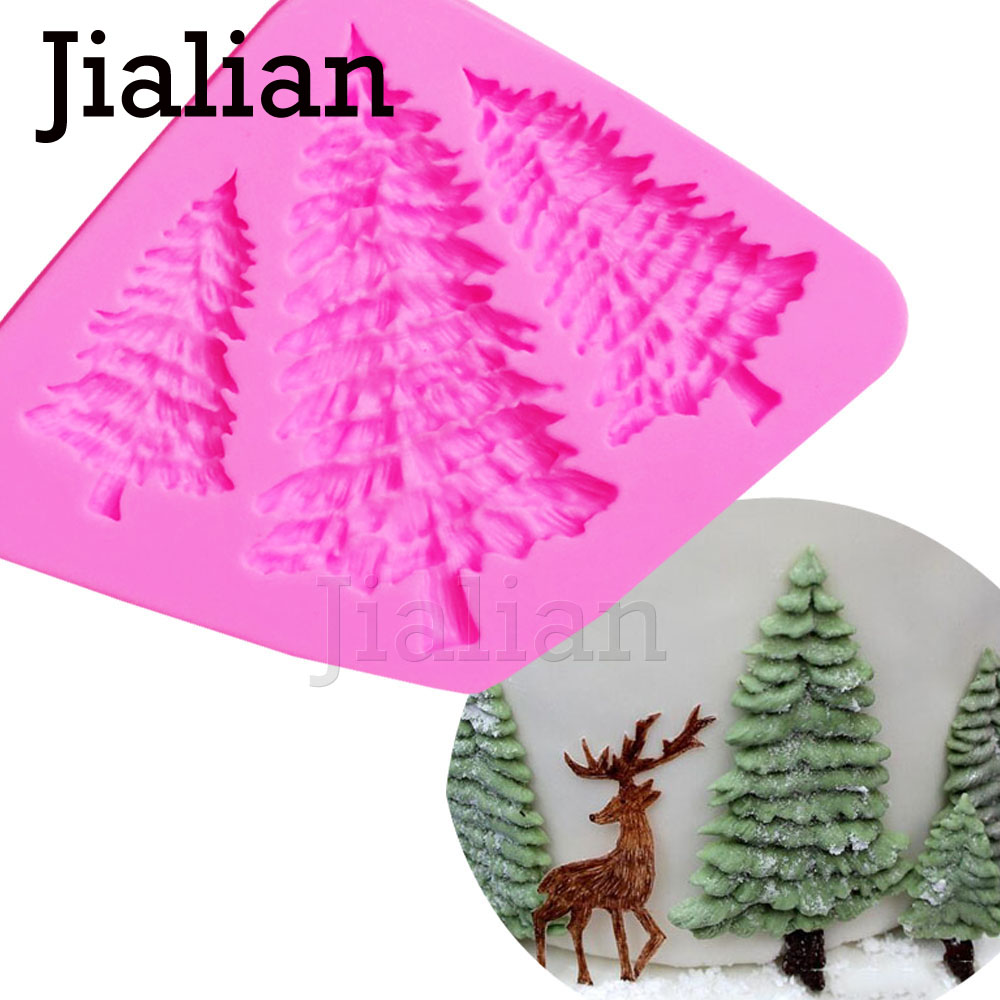 3 Hole Christmas tree Shaped Silicone Mold Cake Decoration Fondant cookies tools 3D Silicone Mould Gumpaste Candy T0972(China)