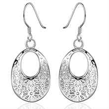 Lose Money Promotions! Wholesale silver earing, silver plated fashion jewelry, hollow flower earrings For Women SMTE581(China)