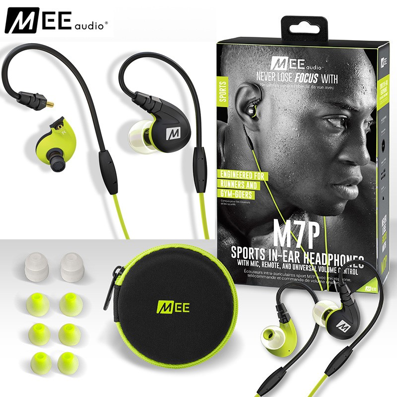 100% Original MEE Audio M7P Noise Isolation Sports Running Anti-water Sweatproof In-Ear Earphone Earbuds with Mic Remote Control<br>