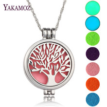 Tree Of Life Vintage Aromatherapy Diffuser Locket Pendant Perfume Necklace Maxi Choker Necklace Women Jewelry Glowing In Dark