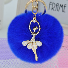 8CM  real Fur Ball Keychain rhinestone angel Rex Rabbit Fur Pom Pom Plush Key Chain Keyring men women keychain