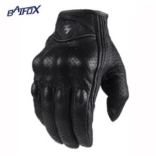 Retro Perforated Leather Motorcycle Gloves Cycling Moto Motorbike Protective Gears Motocross Glove winter man female off road