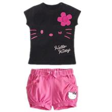 Retail 2017 children girls clothing Summer Girls set hello kitty cute pajamas costume baby kids clothes child cartoon sets suits