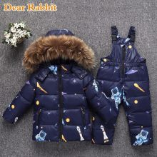 Russia Winter warm down jacket for baby girl clothes child clothing sets boys parka real fur coat kids snow wear infant overcoat(China)