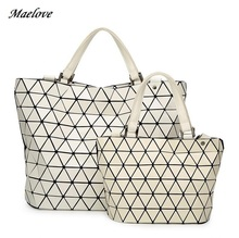 Maelove  2017 New Women handbag Geometry Sequins Mirror Plain Folding Bags casual Totes famous logo Free Shipping